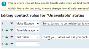 Customisable call instructions